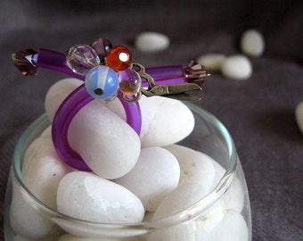 Adjustable Purple Ring with scissors charm and moonstone
