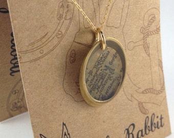Vintage Ephemera Bible Verse and Antique Map Necklace