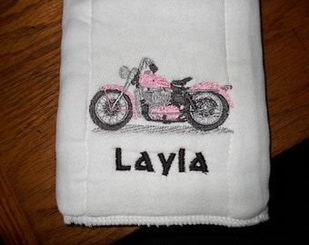 Personalized Pink Harley motorcycle Burp Cloth Diaper
