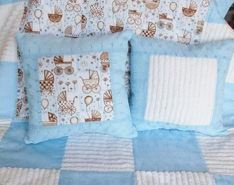 Chenille Baby Quilt, Quilt Blanket, with, Decorative Pillows, Handmade Baby Quilt, Baby Blanket, Quilt Set, Infant Quilt, Baby Boy,