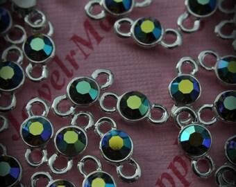 Olivine AB Genuine Sterling Silver Plated Swarovski Crystal Connectors Link T700