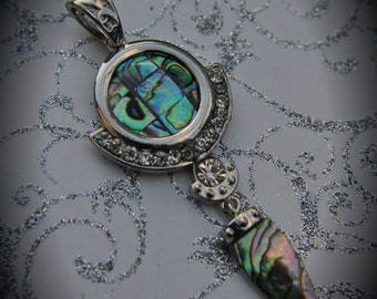 Genuine Silver Plated Abalone Drop With Crystals Pendant