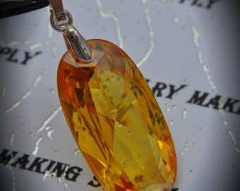 AAA Silver Plated Oval Pendant With Yellow Cubic Zirconia