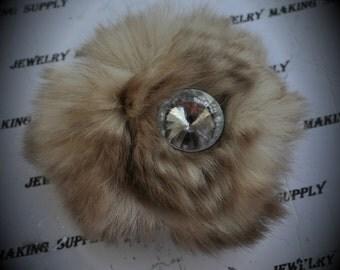 Silver Fur Flower Brooch With Crystal