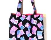 Library Tote Bag - Library Book Bag - Cotton Beach Bag - Cloth Grocery Bag - Fabric Tote Bag - Reusable Fabric Bag - Reusable Shopping Bag