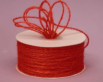 Red Jute twine - 20 yds Red Jute Christmas red cording gift wrapping hang banners