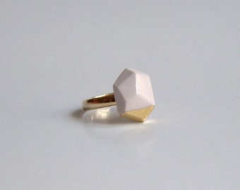 Porcelain faceted geo ring - white, 24k gold luster, geometric jewelry