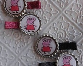 Peppa Pig Glitter Hair Clippies Clips Pink or Black
