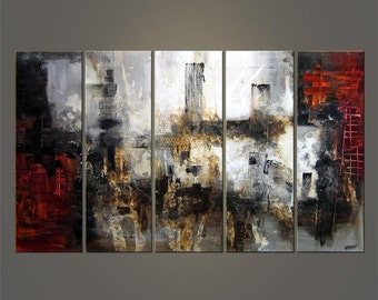 "Abstract Painting Red Black White Gray Painting Original Contemporary Acrylic Painting on Canvas by Osnat - MADE-TO-ORDER - 60""x36"""