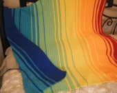 "Color Spectrum Crocheted Afghan Blanket 50""x60"""