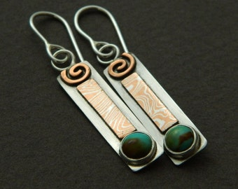 """Mixed metal jewelry- turquoise, silver and mokume dangle earrings """"Turquoise Drops"""""""