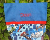 Boys Tote Bag, Canvas Tote Bag, 'Avengers' - FREE PERSONALIZATION
