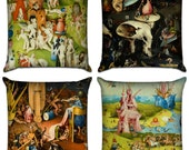 Complete Set (Total 8 Pillow Covers) The Garden of Earthly Delights by Bosch - Famous Art Sofa Throw Pillow