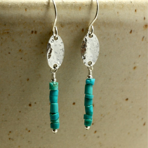 Turquoise Heishi Dangle Earrings with Hammered Sterling Silver, Southwestern Earrings, Hammered Silver Earrings