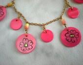 Shell Disc Bracelet: Salmon Pink - Boho Jewelry - Hippie Jewelry - Charm Bracelet - Gypsy Jewelry - Flower Bracelet - Pink Jewelry