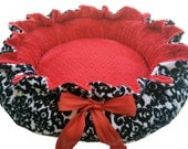 Black and White Damask Minky Pet Bed with Red Dot