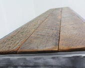 """60"""" Hammered steel Bench, Century Old Barn wood, Industrial, Reclaimed, Rustic, Character."""