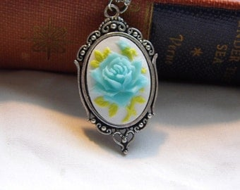 Petite blue and White Cameo Ladies Silver Filegre art designer Necklace Pendant Mothers Day