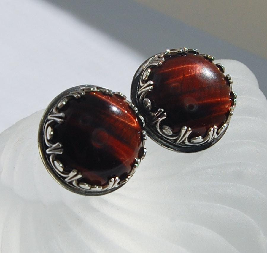 Red Tigers Eye Stone Gemstone Stud Earrings...
