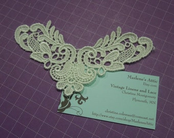 1 Ivory Venise Lace Yokes Collar Appliques for jewelry, bridal, wedding, altered couture, necklaces, bridal by MarlenesAttic - APP104