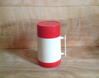 Vintage Aladdin Thermos Bottle - Red, White - 1970s