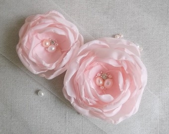 Pale pink fabric flower hair clip, bridal hair flowers, bridesmaid hair pin, pink shoe clip, Wedding flowers with pearls and crystals