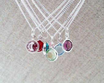 SALE Birthstone Necklace. Personalized Necklace. Sterling Silver Chain. Swarovski Birthstone. Delicate Dainty. Gift For Her