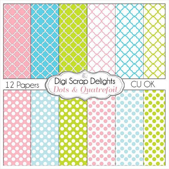 Polka Dots & Quatrefoil Digital Papers in Pink, Blue, Green Instant Download