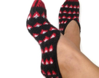 Black and red ethnic knit slippers ,authentic regional slippers,Home slippers - OOAK-