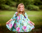 Dress - Chloe - Spring Collections - Dress - Children Designs - Twirl Dress - 3/4 Longsleeves - California Style - Big Bow  - 3T to 8