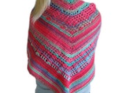 Rainbow Sherbet Crochet Triangle Shawl, Crochet Stole Wrap, Striped Butterfly Shawl, Fall Fashion Wrap, Bright Stole Wrap, Shawl Scarf