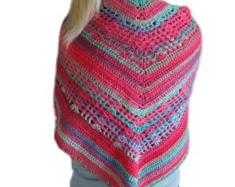 Rainbow Sherbet Crochet Triangle Shawl, Crochet Stole Wrap, Striped Butterfly Shawl, Fall Fashion Wrap, Bright Stole Wrap, Shawl Scarf