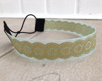Mint and Gold Headband