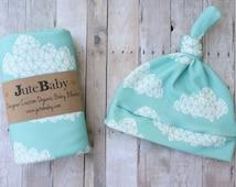 Aqua Clouds Organic Baby Blanket, Custom Baby Blanket, Swaddle Wrap, Baby Swaddle Toddler Blanket by JuteBaby