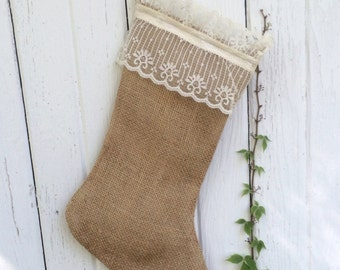 READY TO SHIP-Burlap and Lace Christmas Stocking-Add a Name-Shabby Chic-Natural/Folk/Country/Rustic