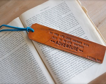 Custom Personalized Leather Bookmark - Choose your own quote or mine