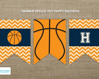 Basketball Birthday Banner - Basketball Printable - Basketball Birthday -  Sports Birthday - Printable Party - First Birthday