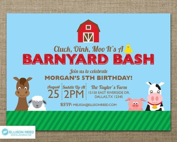Farm Invitation Barnyard Invitation Farm Animal Invitation – Barnyard Birthday Invitations