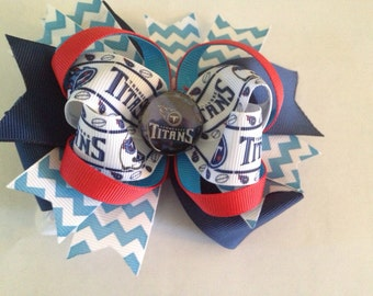 NFL Tennessee Titans Stacked Boutique Hairbow
