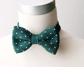 Dark Green White Polka Dot Heart Dots Knitted Bow Tie - Forest Green Dotted Wedding Groom Bowtie Bowties - Men Mens Boys Bow Tie