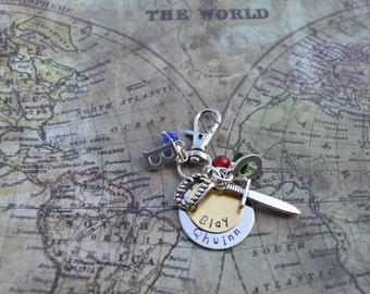 Black dagger brotherhood Qhuinn and Blay keychain, Lover At Last, J R Ward, hand stamped metal
