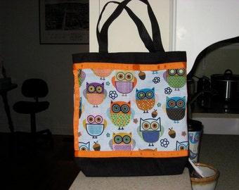 Black Halloween Owl Tote, Black & Orange Tote Bag, Reusable Grocery Bag, Ohio Tote