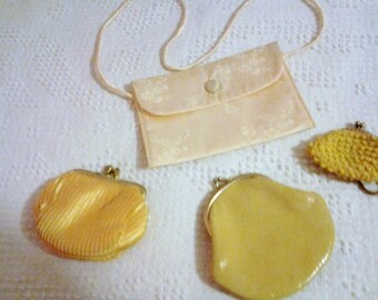 LOT of yellow vintage coin purses Instant collection of FOUR coin purses