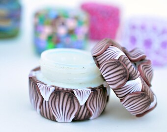 Brown and White Flower Petal Pill Jar - upcycled Polymer Clay