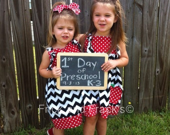 Back to School Apple Chevron Knot Dress, First Day of School Dress, Back to School Outfit, First Day of School Dress, Apple Dress Knot Dress
