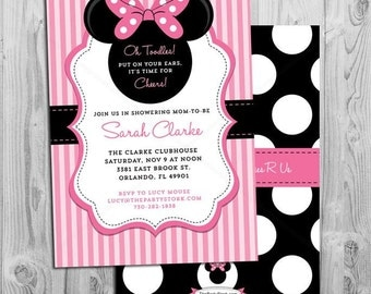 Minnie Mouse Baby Shower Invitations DIY, Girl Baby Shower Invitations, Minnie Mouse Baby Shower Invites, Minnie Baby Shower Invitations
