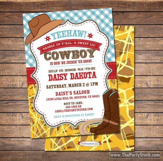 Cowboy Baby Shower Invitation Printable Cowboy Baby Shower