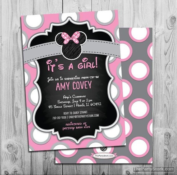 Minnie Mouse Baby Shower Invitation Printable Minnie Mouse