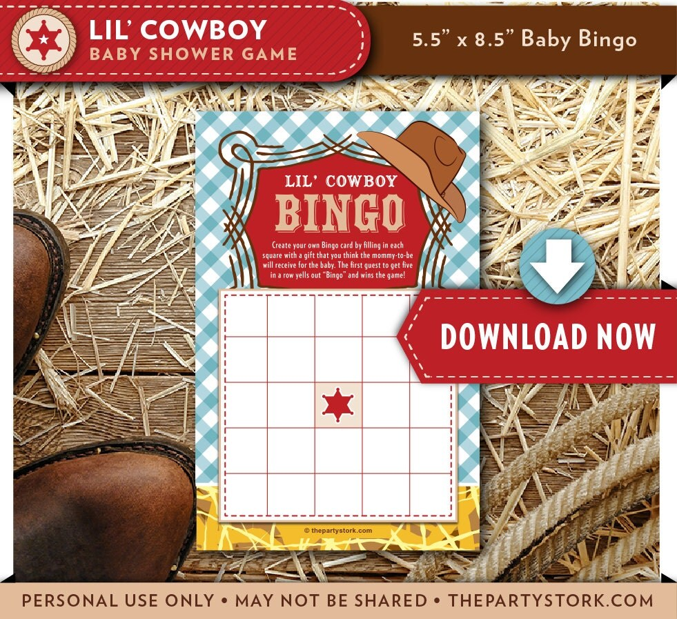 Baby Shower Cowboy Theme: Lil Cowboy Baby Shower Bingo Printable Card Game Country