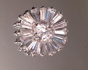 Vintage Sterling Silver CZ Flowers for Jewelry Making Bridal Jewelry